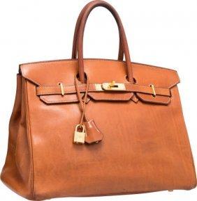 Hermes 30cm Natural Barenia and Toile Birkin Bag