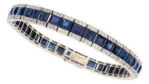 54280 Art Deco Sapphire Diamond Platinum Gold Brace