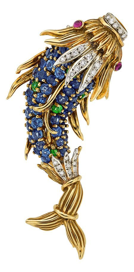 54064: Multi-Stone, Diamond, Gold Brooch, Jean Schlumbe