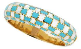 Mother-of-Pearl, Turquoise, Gold Bracelet, Angel
