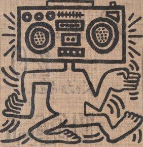 Keith Haring (1958-1990) Usa-1, 1984 Oil On Burl