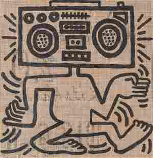 69203: Keith Haring (1958-1990) USA-1, 1984 Oil on burl