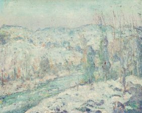 Ernest Lawson (american, 1873-1939) Snow Oil On