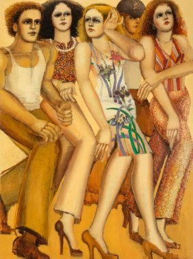 Lester F. Johnson (1919-2010) City Dwellers Oil