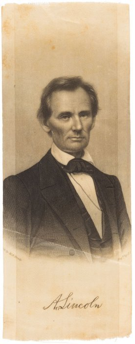 Abraham Lincoln: Single Portrait Brady Ribbon. F