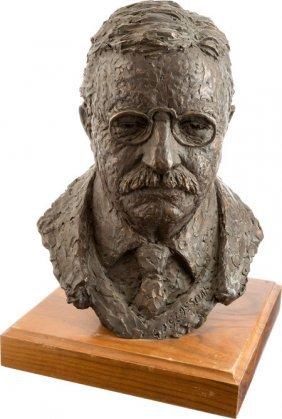 Theodore Roosevelt: Bronze Bust On Wooden Base.