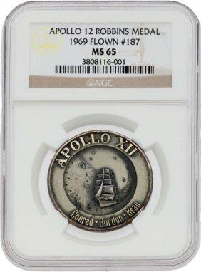 Apollo 12 Flown Ms65 Ngc Silver Robbins Medallio