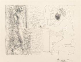 Pablo Picasso (1881-1973) Sculpteur Et Son Modèl