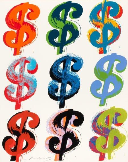 69263: Andy Warhol (1928-1987) $ (9), 1982 Unique scree