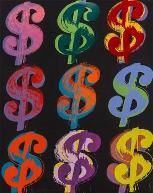 69264: Andy Warhol (1928-1987) $ (9), 1982 Unique scree