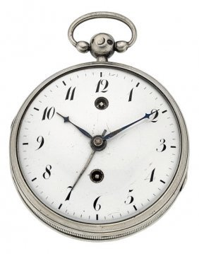 Swiss Sterling Two Train Verge Fusee With Alarm,