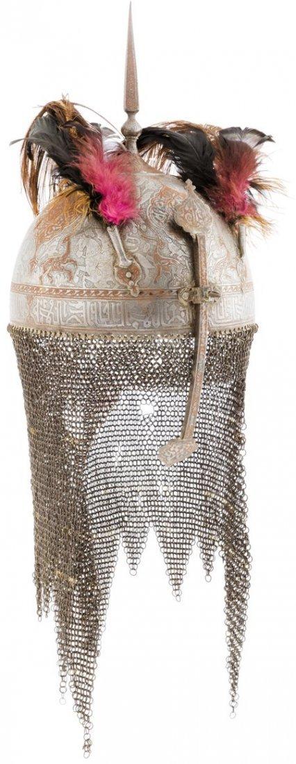 40001: Ornate Persian Kulah Khud Helmet.  A wonderful a