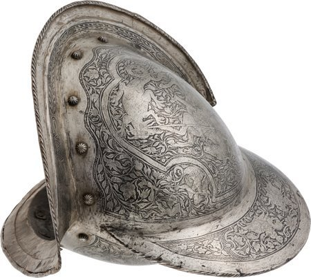 40002: Victorian-Era Morion Helmet Etched in the Italia