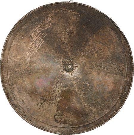40006: Victorian-Era Etched European Shield.  Steel, co