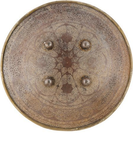40007: 18th Century Indo-Persian Dhal (Sipar).  Steel,