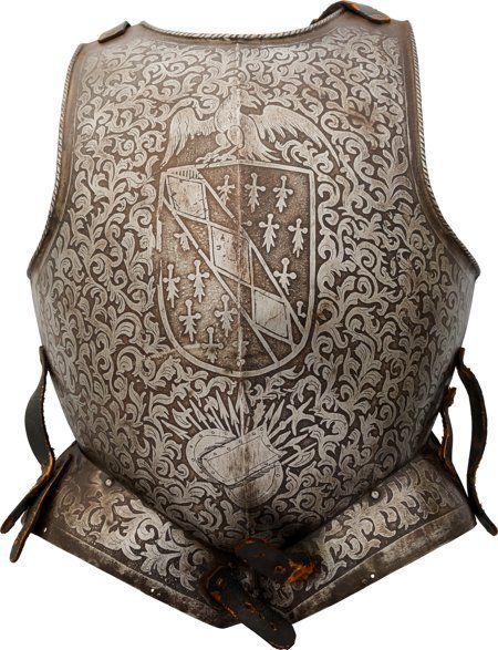 40009: Victorian-Era Italian Style Etched Breastplate.