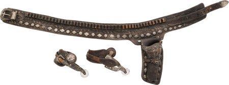 40096: Superb Vintage Bohlin Tooled Gun Belt, Holster a