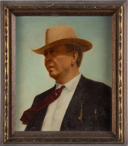 51013: Texas Ranger Captain Frank Hamer Portrait in Oil