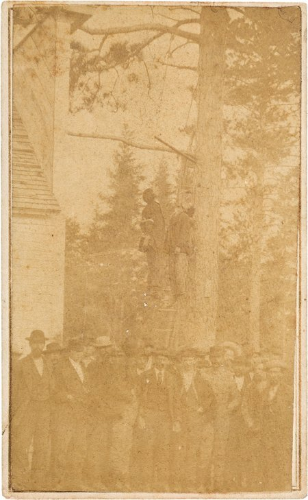 51022: Carte de Visite of the Lynching of Two Chippewa