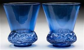 63249: A Pair of R. Lalique Blue Glass Lierre Vases, ci