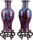 63466: A Pair of Chinese Flambé Glazed Ceramic Vases wi