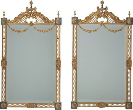63726: A Pair of Louis XVI-Style Enameled Gilt Bronze M