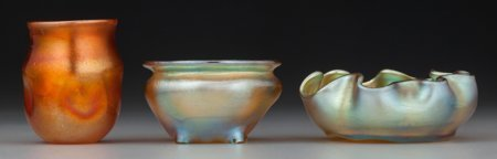 64002: Two Tiffany Studios Favrile Glass Salt Cellars a