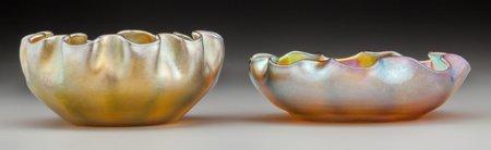 64005: Two Tiffany Studios Gold Favrile Glass Ruffled B