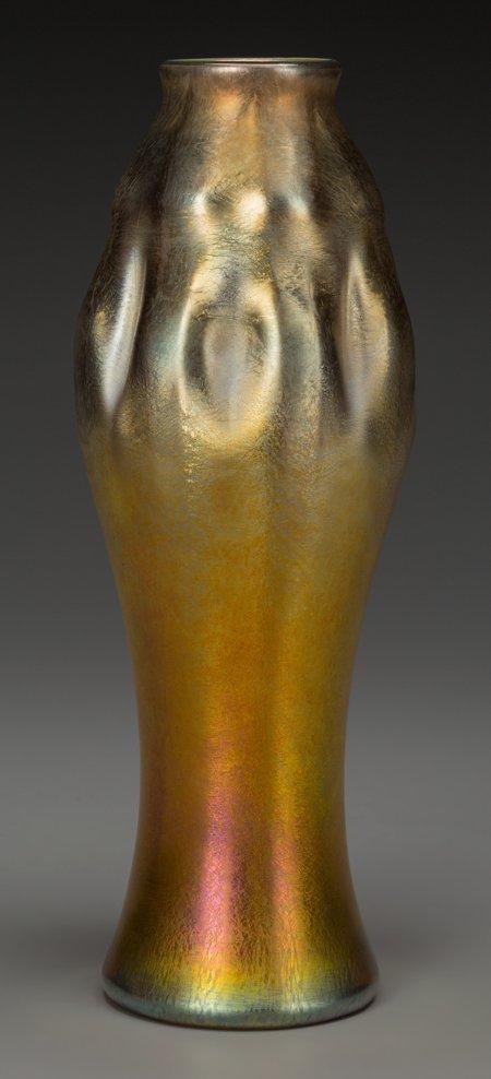 64007: A Tiffany Studios Gold Favrile Glass Vase, Coron