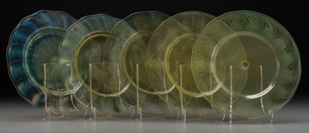 64009: Five Tiffany Studios Pastile Glass Dessert Plate