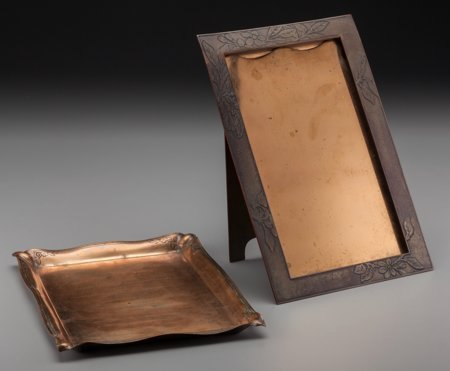 64010: A Tiffany Studios Copper Tray and Picture Frame,