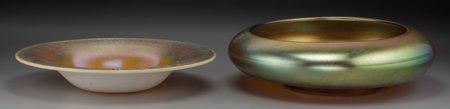 64012: Two Steuben Gold Aurene Glass Bowls, Corning, Ne