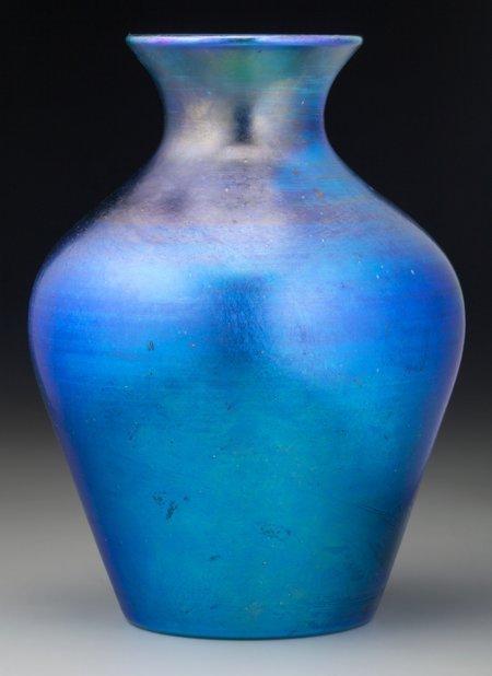 64014: A Quezal Blue Iridescent Glass Vase, Queens, New