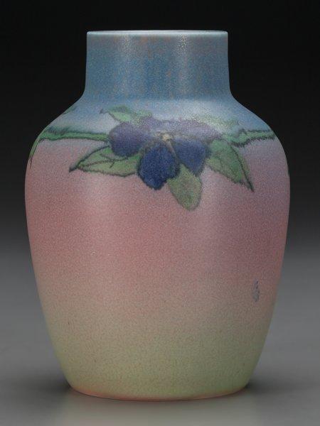 64019: A Rookwood Matte Glaze Ceramic Floral Vase by El