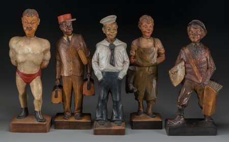 64608: Five German Carved Wood Whistling Automatons, 20