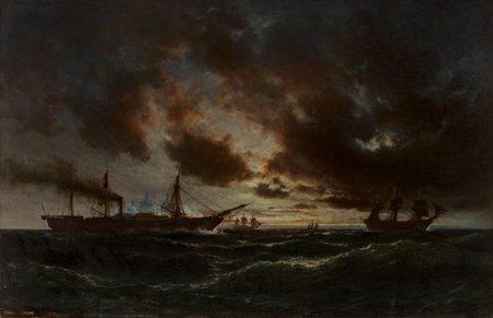 65113: Anton Melbye (Danish, 1818-1875) Ships in a Roug