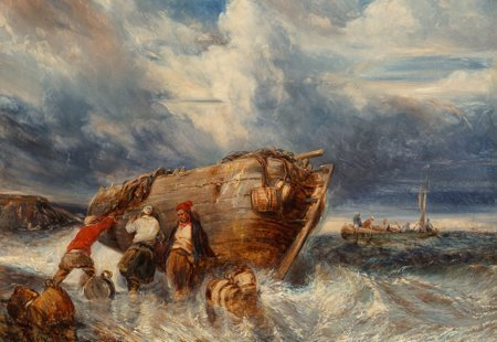 65118: Eugène Isabey (French, 1803-1886) Casting Off in