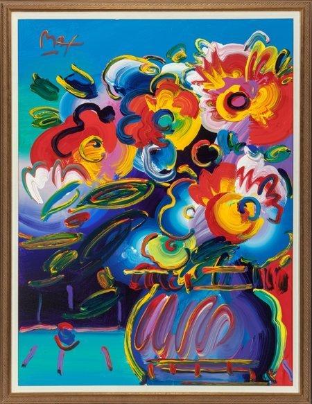 65386: Peter Max (American, b. 1937) Vase of Flowers fr