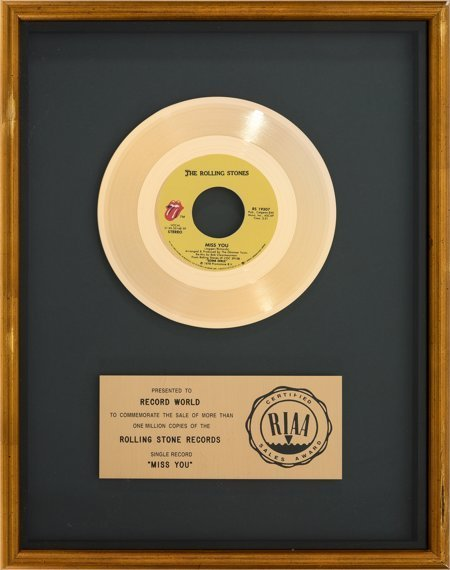 """89753: Rolling Stones """"Miss You"""" RIAA Gold Record Sales"""