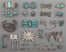 70056: Twenty-Seven Navajo Silver Jewelry Items c. 1940