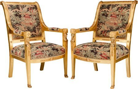 61165: A Pair of Empire-Style Giltwood Fauteuils with G