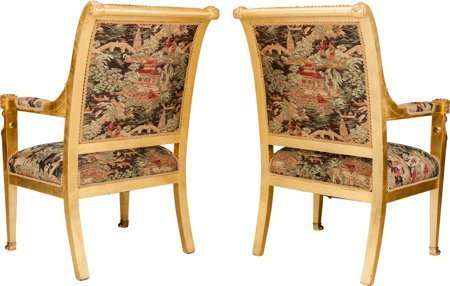 61165: A Pair of Empire-Style Giltwood Fauteuils with G - 2