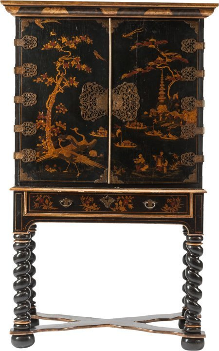 61248: An English Japanned Cabinet on Stand, late 19th