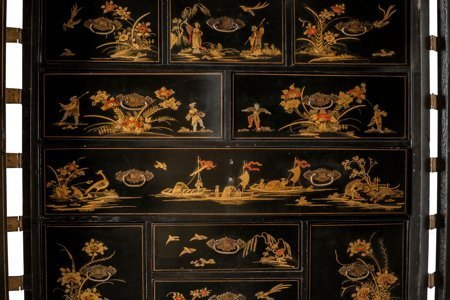 61248: An English Japanned Cabinet on Stand, late 19th - 3