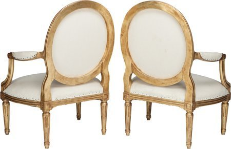 61173: A Pair of Louis XV-Style Giltwood Upholstered Fa - 2
