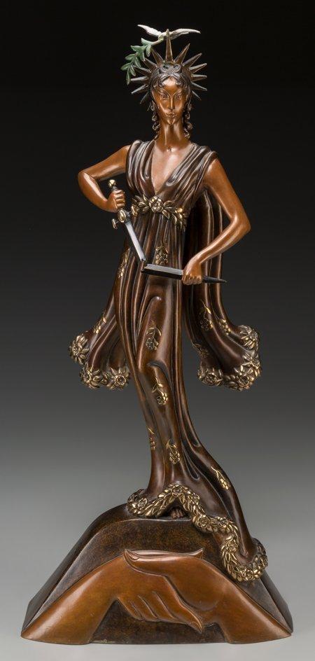 61337: An Erté Cold Painted Bronze Sculpture: Peace, ci