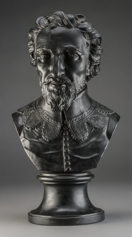 61011: A Wedgwood Basalt Bust of Sir Walter Raleigh, Bu