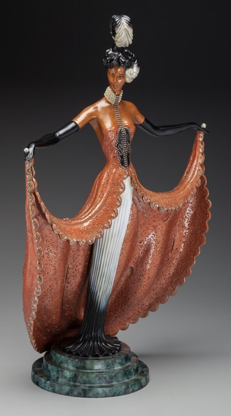 61344: An Erté Cold Painted Bronze Sculpture: Cabaret,