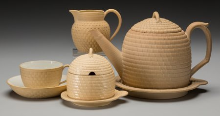 61016: A Six-Piece Wedgwood Yellow Caneware Tea Suite,