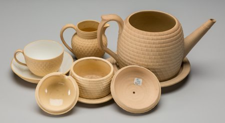 61016: A Six-Piece Wedgwood Yellow Caneware Tea Suite,  - 2